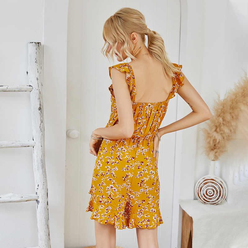 Seksi zarif ruffles kolsuz geniş bacak kadın tulum kısa tulumlar casual gevşek sarı playsuits çiçek baskı kısa romper
