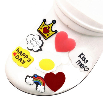 5pcs/set Shoe Charms Accessories Heart Rainbow Lip Crown Letter Poached Egg Kids Shoe Decoration for