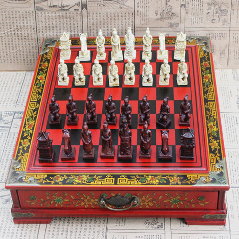 Conjunto de Xadrez Peças de Xadrez de Madeira Arcaico Chinês Xadrez Coleção Terra-cotta Guerreiros Vintage Entretenimento 32