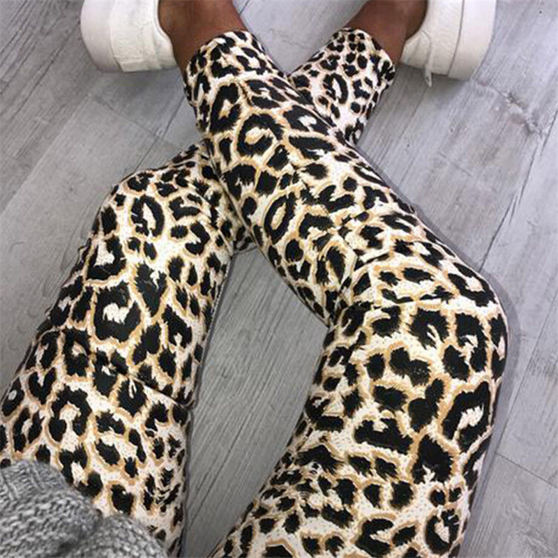 Fashion Casual Women Skinny Leopard Snake Animal Print High Waist Stretchy Leggings