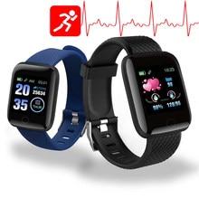 Reloj inteligente D13 para hombre, resistente al agua, con control del ritmo cardíaco y de la presión sanguínea, podómetro y rastreador de Fitness para Android, 116 Plus