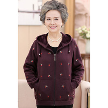 Middle-aged and Elderly Women Jacket 2020 New Spring Autumn Print Plus Velvet Co