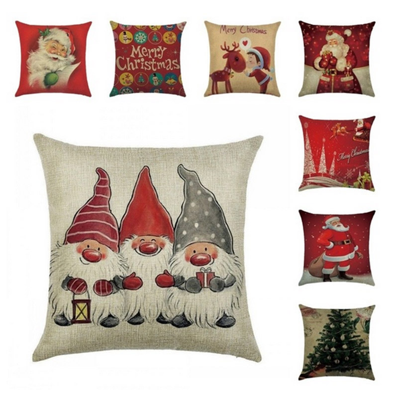 Square Flax Pillow Case Santa Xmas Tree Pattern Pillow Case Christmas Home Decorative SLC88