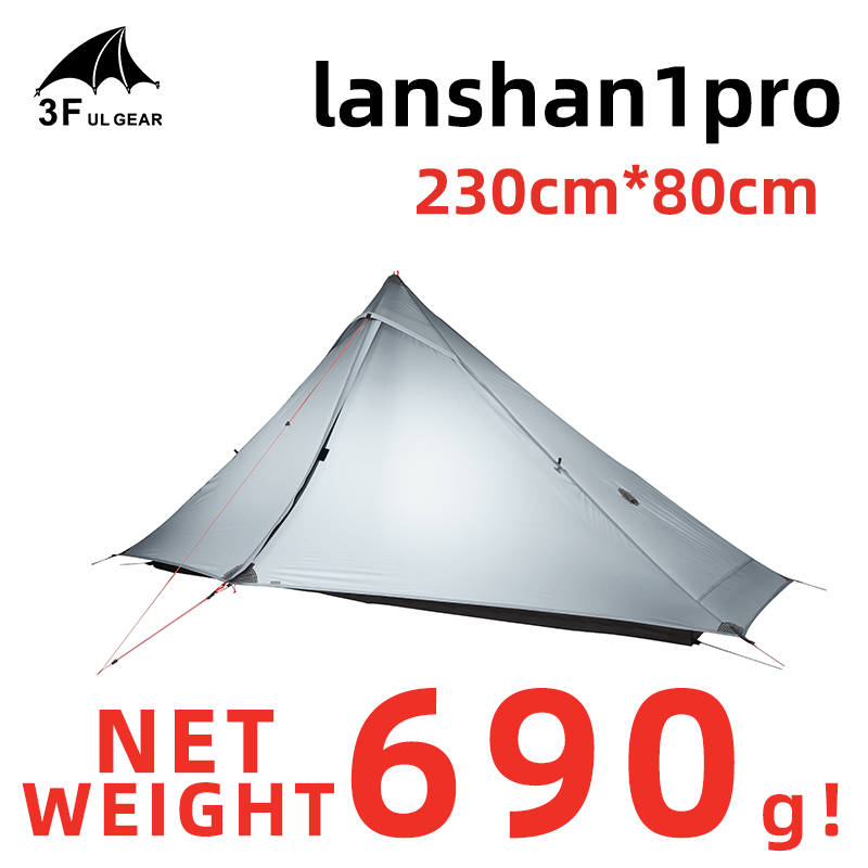 3F UL GEAR Lanshan 1 Pro Tent Outdoor 1 Person Ultralight Camping Tent 3 Season Professional 20D Silnylon Rodless Tent