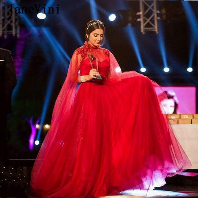 JaneVini Elegant Red Muslim Arabic Long Sleeves Evening Dresses High Neck Crystal Beaded Tulle Floor Length Formal Dinner Gown