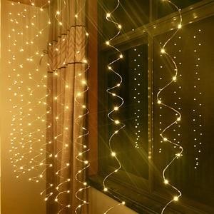 Image 2 - 2*1M LED 防水リモートコントロール 8 モードセットのバッテリーボックス Led カーテンロマンチックなクリスマスの結婚式ホーム屋外照明