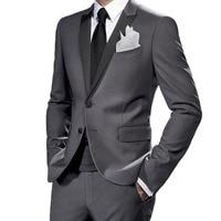 Slim Fit Middle Grey Tuxedo For Wedding Suits For Men, Narrow Peak Lapel Custom Fit Suits For men, 2019 Gray Costume Sur Mesure