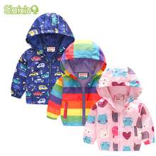 Kids Clothes Girls outerwear Jackets Children Hooded Zipper Windbreaker Coat Infant Waterproof Fashion Print Hoodies For Boys(China)