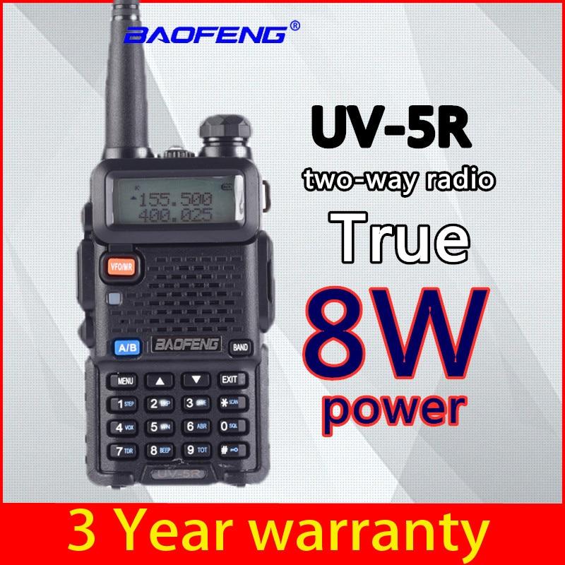 Baofeng UV 5R 8W True High Powerful Two Way Radio Walkie Talkie CB Ham Portable Radio 10km Long Range UV-5R 8 Watts Hunting