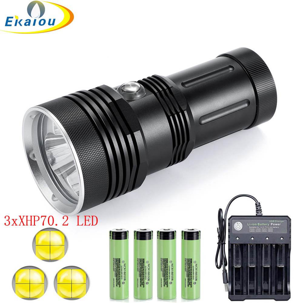 2020 new Powerful Super 200M Depth Diving Flashlight 3 x XHP70 2 LED Professional Dive Underwater Waterproof Tactical Torch Lamp
