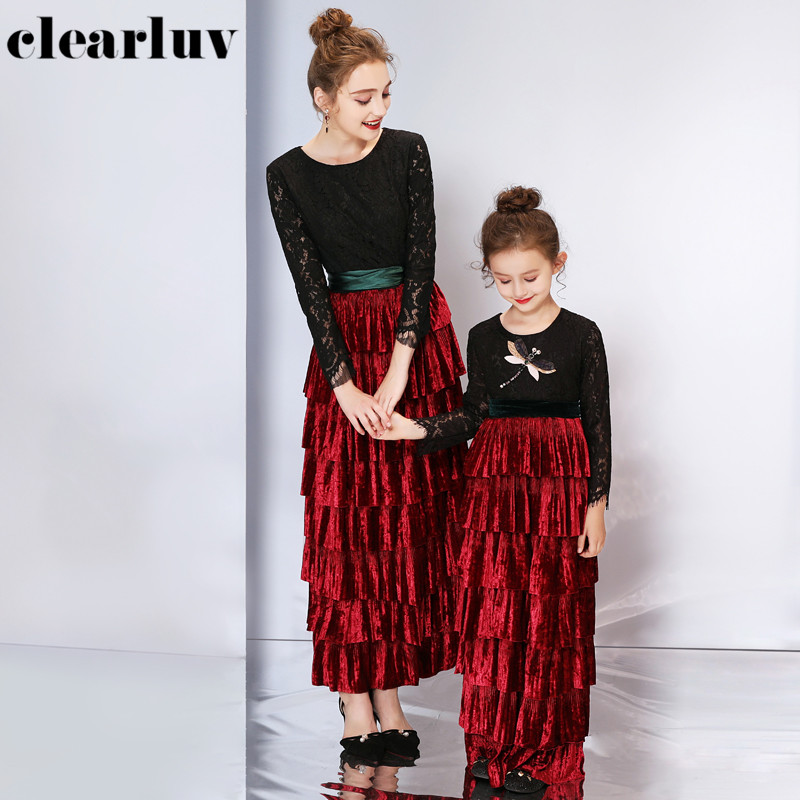 Mother And Daughter Elegant Evening Dress DB160 O-Neck Long Sleeve Formal Banquet Dresses Parent-child Patchwork A-Line Gowns