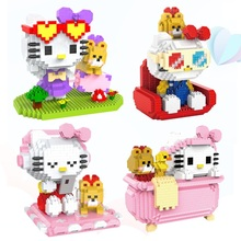 Micro HC Magic Blocks Cartoon Building Toy Anime Cat Model Brinquedos Auction Figures Toys for Children Lovely Girls Gifts 9070