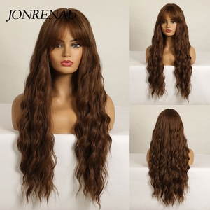 JONRENAU 26 inch Long Light Brown Wig with Air Bangs Silky Full Heat Resistant Synthetic Wigs for Women Party Cosplay Body Wavy