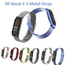 สำหรับ Xiaomi Mi 3 4นาฬิกาข้อมือโลหะสร้อยข้อมือสเตนเลสสกรู MIband สำหรับ Mi Band 4 3สายสายรัดข้อมือ Pulseira