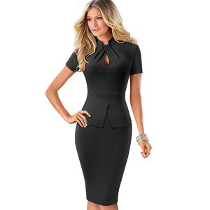 Image 3 - Nice forever Elegant Solid Color Peplum with Knot Work vestidos Business Party Bodycon Slim Women Dress B581