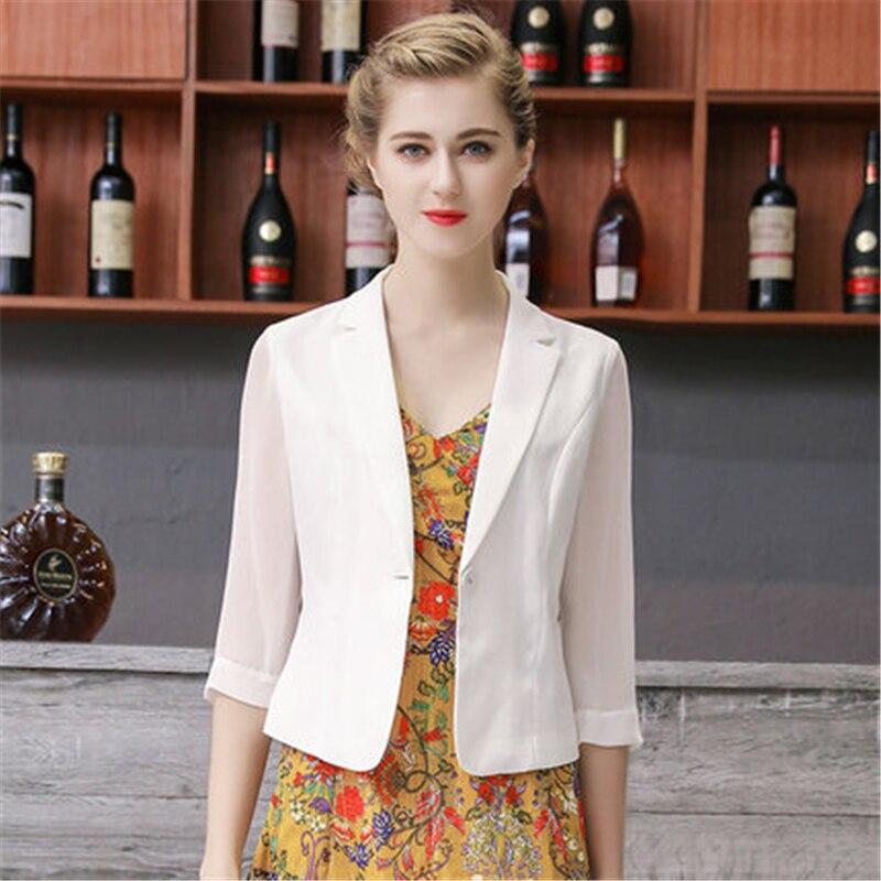 Chiffon Short Suit Blazer Femme Jackets 2020 New Women Blazer Coat Slim Office Lady Jacket Female Tops Professional Blazer W325