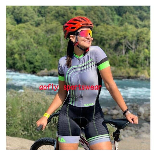 2020 xama pro feminino triathlon skinsuit bicicleta ciclismo conjuntos de jérsei macaquinho feminino roupas de bicicleta macacão gel almofada conjunto feminino ciclismo macaquinho ciclismo feminino  roupas com frete 4