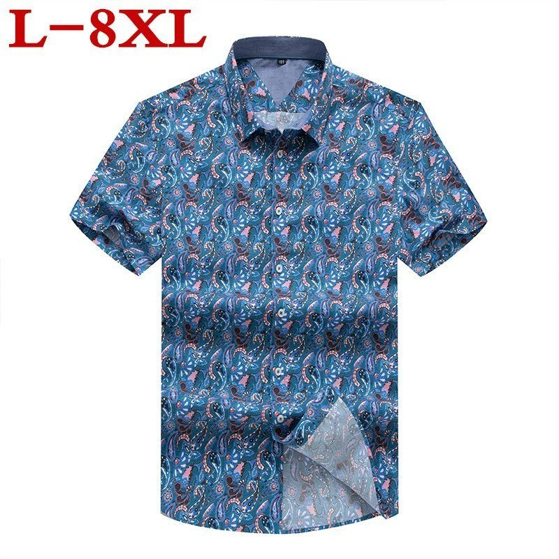 Plus Size Men's Shirt Cotton  Floral Print Blouse Short Sleeve Blusas Femininas Floral Womn Blouses Casual Blusas Big Size Shirt
