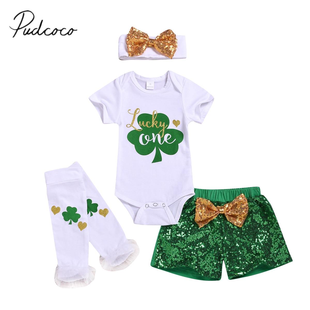 Patrick Day Bloomers Pants Outfits Set Newborn Kids Jumpsuit 2PCS Baby Girls St