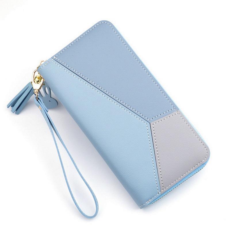 Geometric Luxury Brand Leather Women Wallets Long Zipper Coin Purses Tassel Design Clutch Wallet Female Money Credit Card Holder
