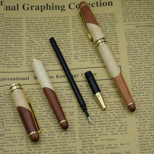 Image 5 - (12 Pieces/Lot) Nature Wood Gel Pens Wholesale 0.5 mm Black Ink Refill Signing Pen Wholesale Office School Supplies