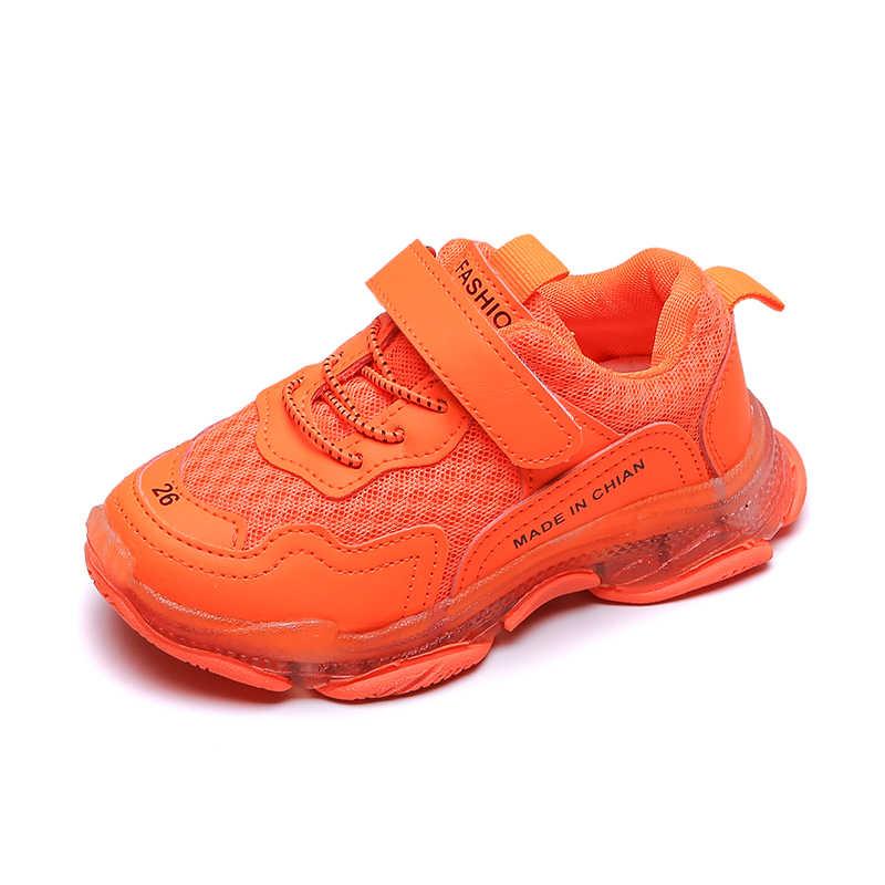 Otoño nuevos zapatos deportivos para niños zapatos de red transpirables de fondo suave para niñas 3-4-6-10 años zapatos de naranja verde amarillo para niño