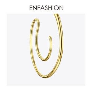 Image 5 - ENFASHION Vòng Tròn Lớn Đôi Khuyên Tai Vòng Cho Nữ Phụ Kiện Màu Vàng Tuyên Bố Bóng Đường Cong Treo Tường Earings Trang Sức Thời Trang E191122