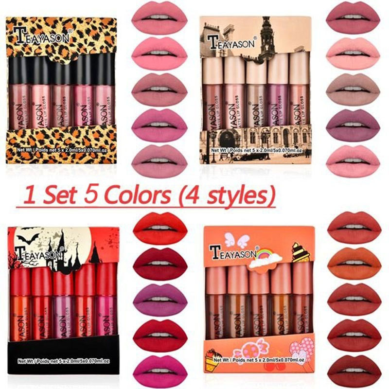 TEAYASON 5 Pieces Matte Lipstick Set Lip Glaze Lip Gloss Liquid Lipstick Non-stick Cup Nude Gift For Girlfriend Daily Cosmetics