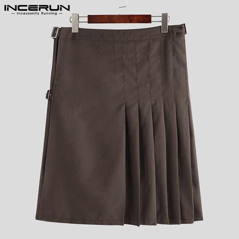 INCERUN Schottischen Männer Röcke Einfarbig Vintage Streetwear Herren Kilt Hose Retro Plissee Röcke Persönlichkeit Böden S-5XL