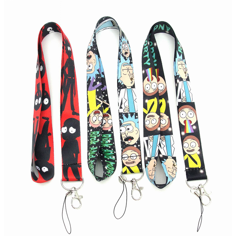 Anime Rick And Morty Key Lanyard Cosplay ID Cards Holders Neck Straps Keyring Keychain Accessories