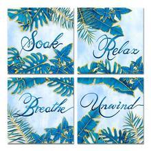 Постеры с голубыми листьями и надписями принтами для спальни