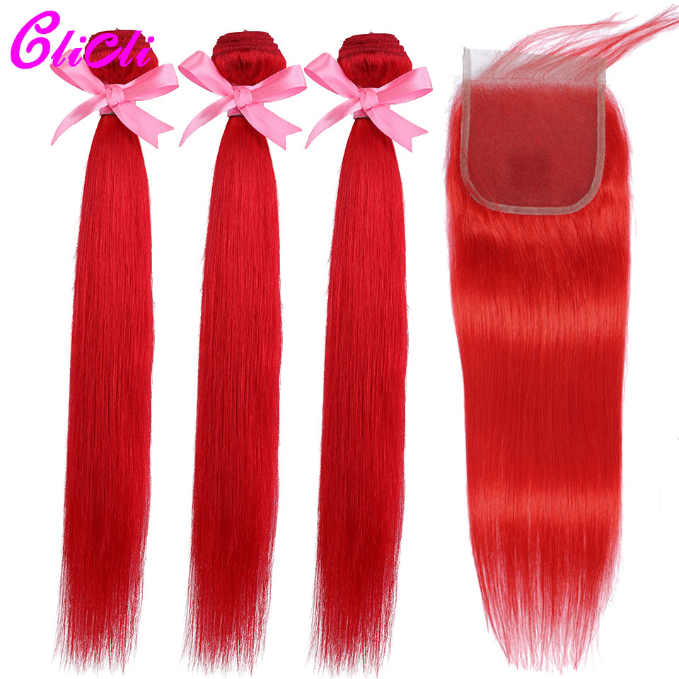 Malaysian Human Hair Weave Bundles With Closure Colored Red Straight Remy Hair 3 Bundles With 4x4 Lace Closures Extensions