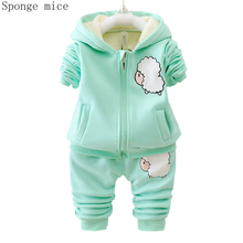 Autumn Winter Children Boys Girls Fashion Clothing Sets Baby Cartoon Hooded Jacket Pants 2Pcs/sets Infant Add Cotton Tracksuits цена 2017
