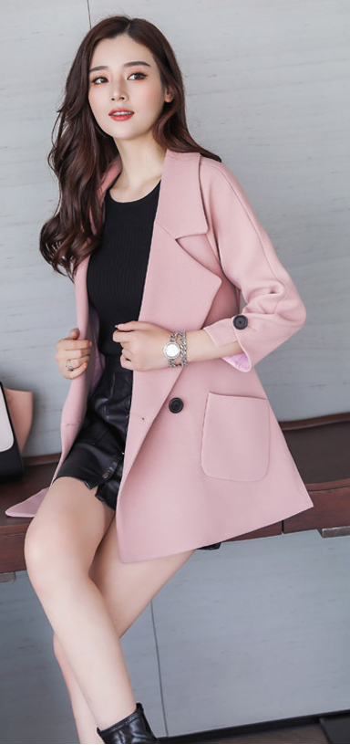 Autumn jacket women M-2XL plus size pink green beige coat 19 new long sleeve lapel fashion short paragraph jacket feminina LR484 31