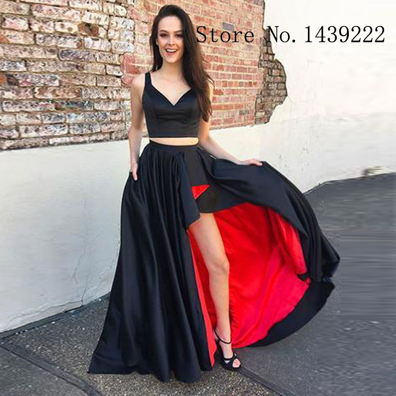 Sofuge Black Two Pieces Evening Dress Celebrity Formal Dresses Robe De Soiree Evening Party Gown