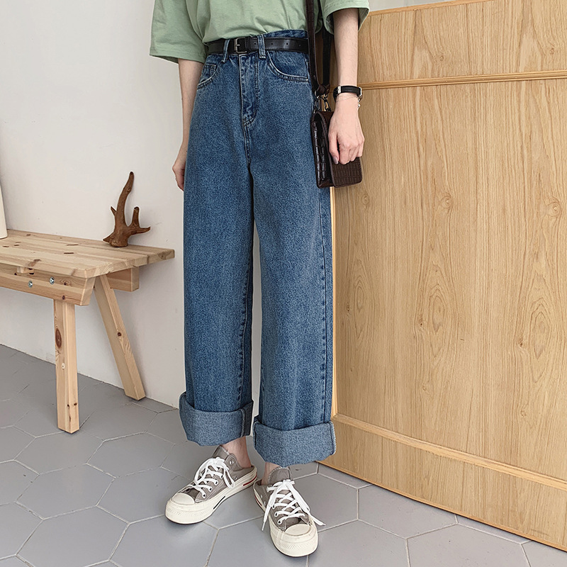 Loose-Fit High-waisted Retro Straight-Cut Jeans Women's Spring New Style Korean-style CHIC Wind Slimming Wide-Leg Long Pants Stu