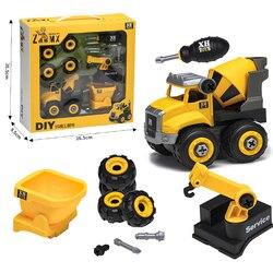 Porca desmontagem descarga de carga engenharia caminhão escavadeira bulldozer criança parafuso menino ferramenta criativa educação brinquedo modelo de carro