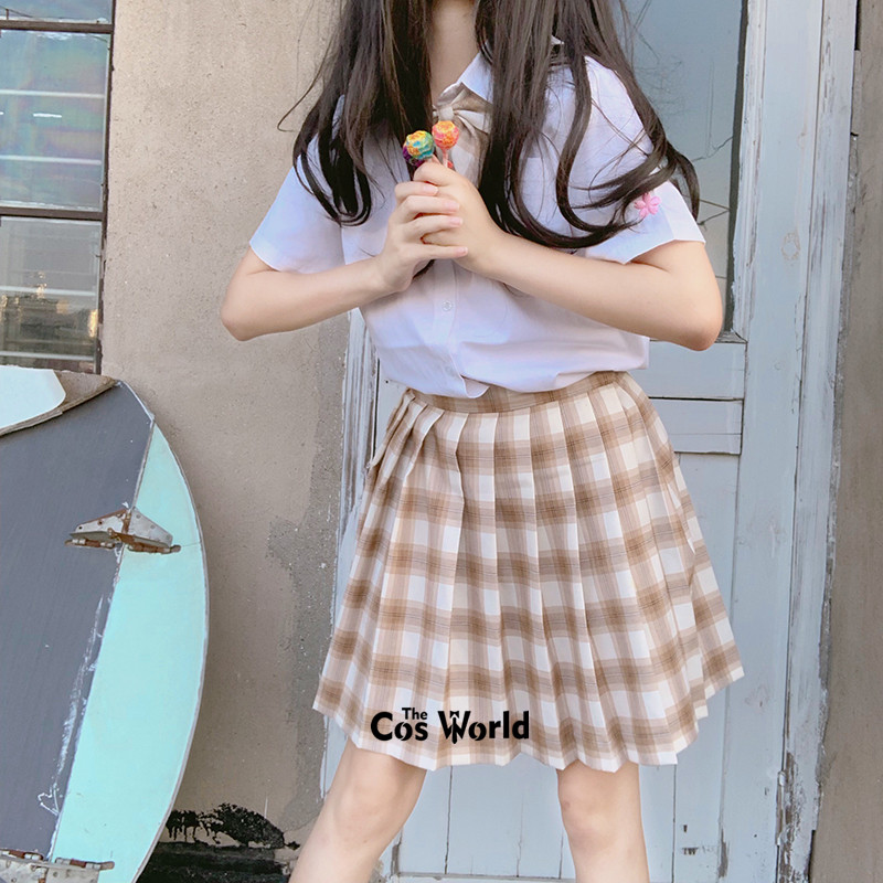 [Caramel Milk Tea] Girl's Summer High Waist Pleated Skirts Plaid Skirts Women Dress For JK School Uniform Students Cloths