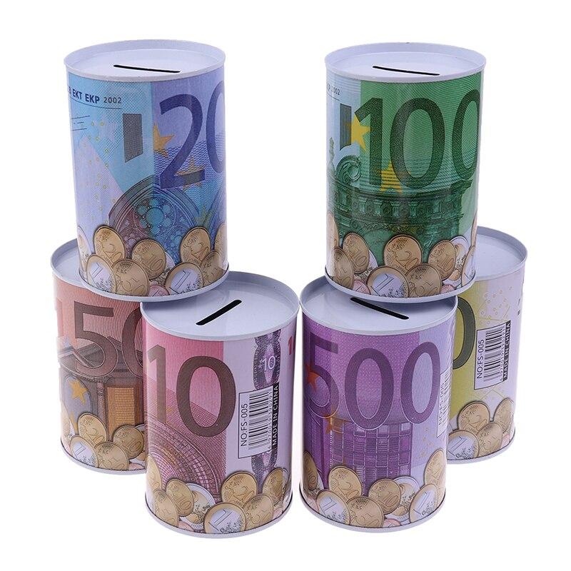 1 pçs criativo folha de flandres cilindro mealheiro euro dólar caixa de imagem casa poupança dinheiro decoração caixas