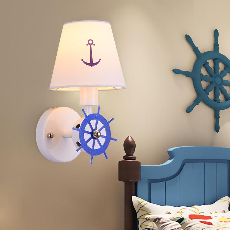 Children's Room Wall Lamp Boys and Girls Bedroom Aisle Mediterranean Creative Cartoon Modern Simple Nordic Bedside Lamp