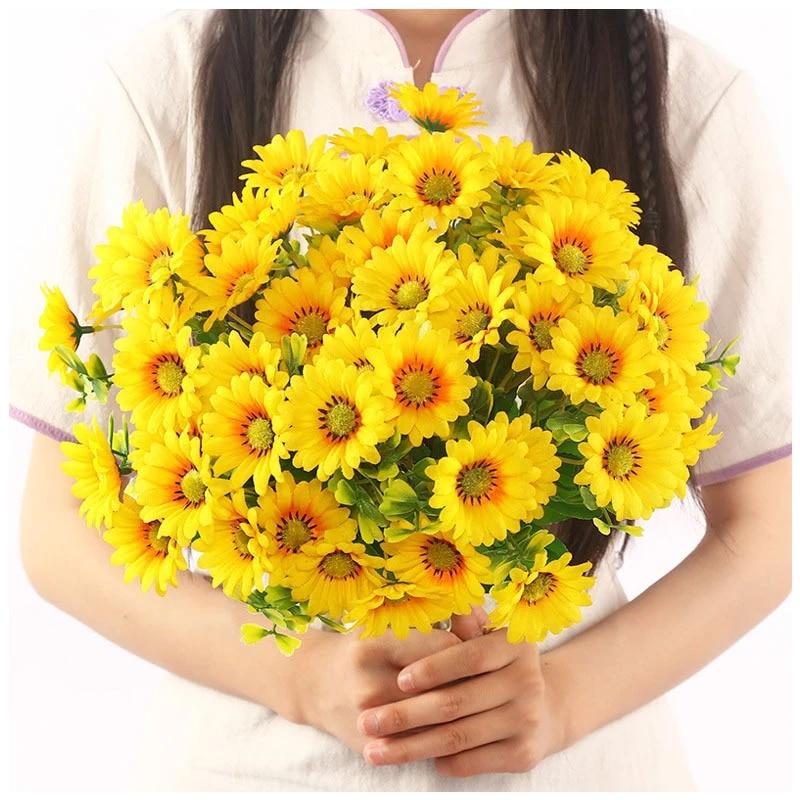 15Heads Sunflower Bouquet Artificial Silk Fake Flower Wedding Home Floral Decors