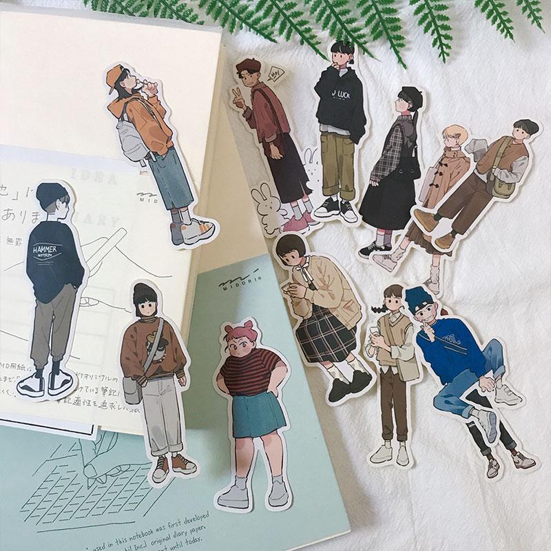 13Pcs/Set Korean Fashion Boy Girl Young Sticker DIY Craft Scrapbooking Album Journal Happy Planner Decorative Stickers