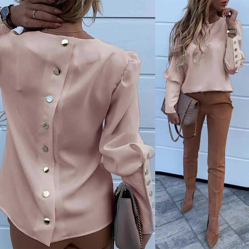 Elegant New Puff shoulder blouse shirts Office Lady Autumn Metal Buttoned Detail Blouses women Pineapple print long sleeve