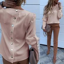Elegant New Puff shoulder blouse shirts Office Lady Autumn M