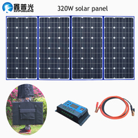 XINPUGAUNG Highly Portable 18V 320w Solar Panel (80Wx4Pc) China+12V Controller Panels Solar Battery Charge Motorhome RV Car