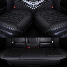 3PCS Universal Car Seat Cover Pad Breathable Square Lattice Black PU Material Vehicles Interior Accessories Cushion