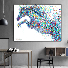 RELIABLI Canvas Painting Animal Art Abstract Colorful Horse Running Picture Wall Prints Decorative for Living Room