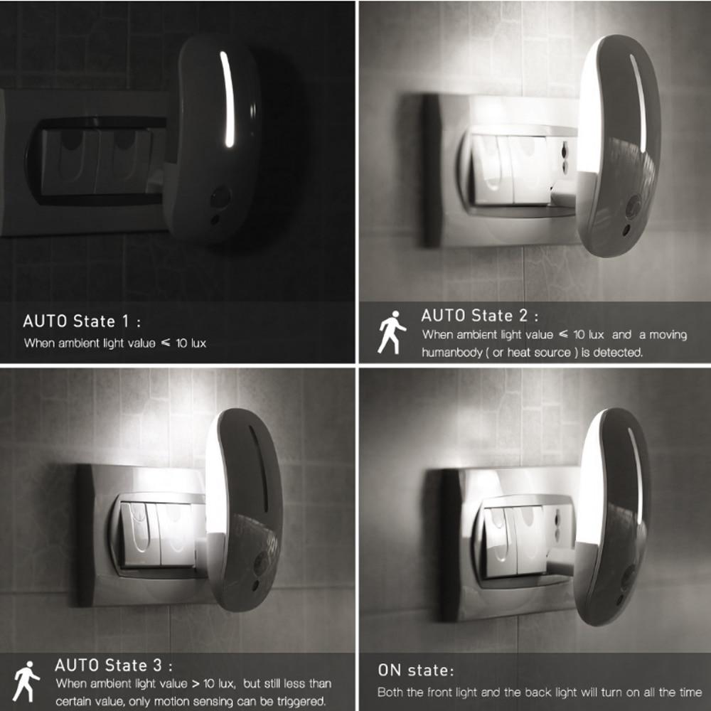 PLUG Sensing Body Motion Sensor Auto Human Induction Wall Lamp LED Night Light