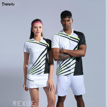 Топ, футболки для тенниса, Мужская футболка для настольного тенниса, женская рубашка для волейбола и бадминтона, быстросохнущая женская спо...