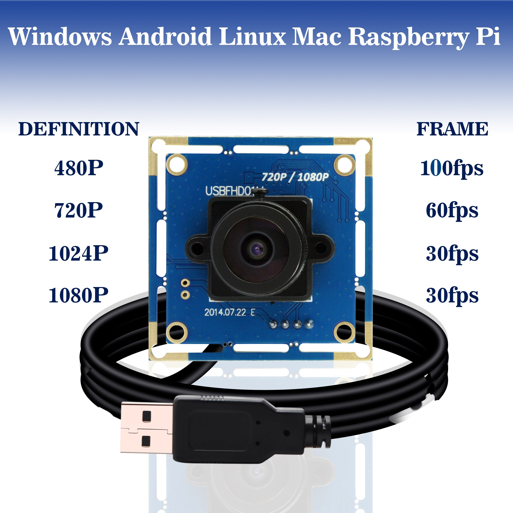 1080p Full HD MJPEG 30fps / 60fps / 100fps High Speed ​​CMOS OV2710 Groothoek Mini CCTV Android Linux UVC Webcam Usb Camera Module